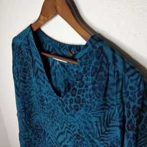 Rebecca Taylor 100% Silk Teal Leopard Print Blouse